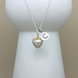 Personalised Strawberry Charm Sterling Silver Necklace