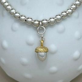 Personalised Acorn Charm Bead Bracelet