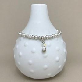 Personalised Pear Charm Bead Bracelet