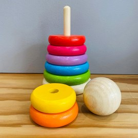Wooden Rainbow Stacker Toy