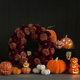 Light Up Ceramic Trio Of Pumpkins Stack