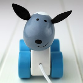 Hand Painted Wooden Sheep Pull Along