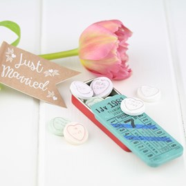 Ticket Style Tin With Mints For Wedding Favours