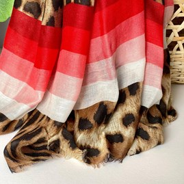 Leopard Print Scarf With Red Stripes