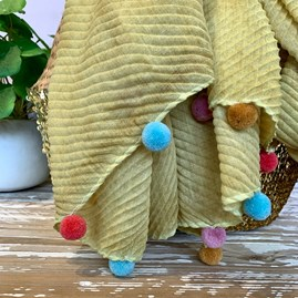 Multi Pompom Scarf in Yellow