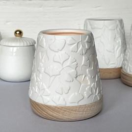 Porcelain and Beech Tealight Lantern With Gingko Design