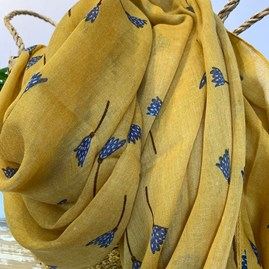 Tulip Doodle Scarf in Yellow