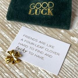 Pocket Companion 'Good Luck' Gold Shamrock