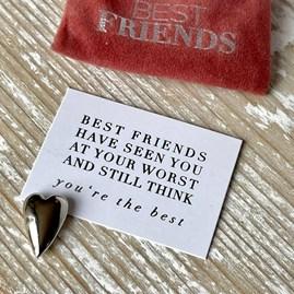Pocket Companion 'Best Friends' Silver Heart