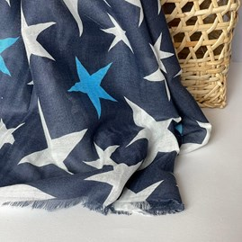 Navy Blue Scarf With Stars