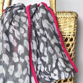 Grey Leopard Print Scarf with Fuchsia Pom Pom Trim