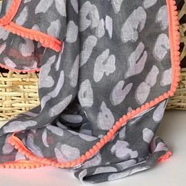 Grey Leopard Print Scarf with Neon Pink Pom Pom Trim