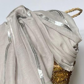 Light Grey And Silver Edged Scarf