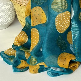 Sketched Spots Scarf in Teal