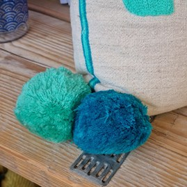 'HELLO' Rectangular Turquoise & Teal Cushion