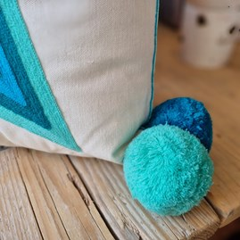 What a Star Embroidered Mint & Teal Cushion