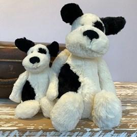 Jellycat Bashful Black & Cream Puppy Medium Soft Toy