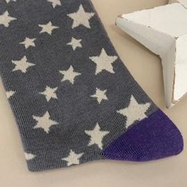 Men's Bamboo Stars Socks In Grey