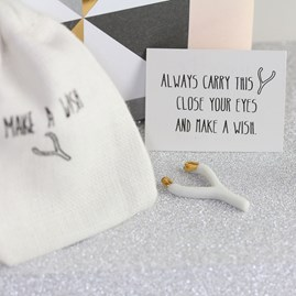 Pocket Porcelain Wishbone 'Wish To Go' Sentiment
