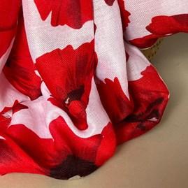 Bold Red Poppy Print Frayed Scarf in White