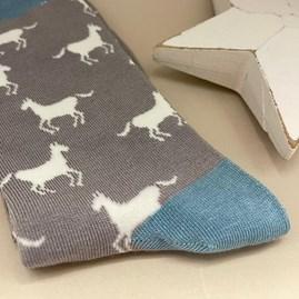 Bamboo Horses Socks In Light Grey