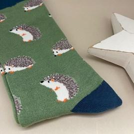 Men's Bamboo Cute Hedgehog Socks In Green