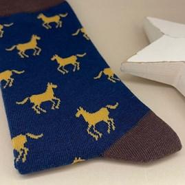 Men's Bamboo Horses Socks In Navy