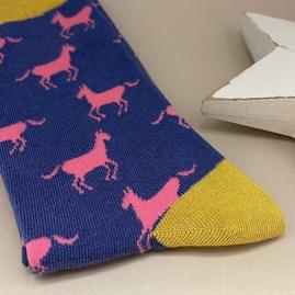 Bamboo Horses Socks In Blue