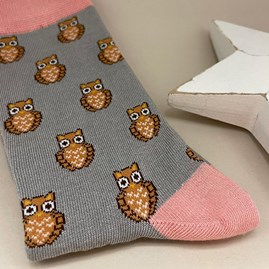 Bamboo Owls Socks In Silver