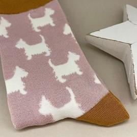 Bamboo Scottie Dog Socks In Dusky Pink