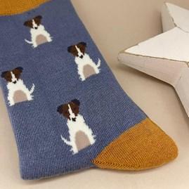 Bamboo Mini Jack Russells Socks In Cornflower