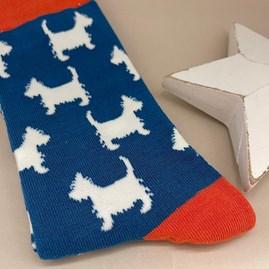 Men's Bamboo Scottie Dog Socks In Teal