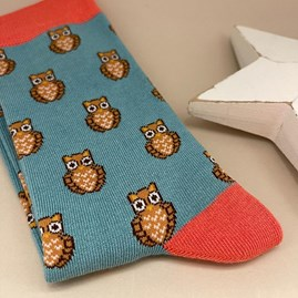 Bamboo Owls Socks In Green