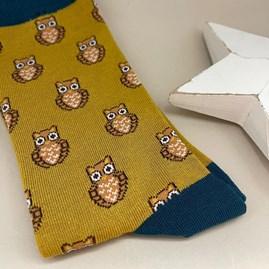 Men's Bamboo Owls Socks In Mustard