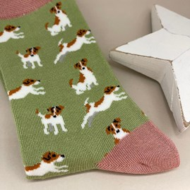 Bamboo Jack Russell Socks In Olive