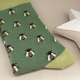 Bamboo Honey Bee Socks in Green