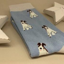 Bamboo Fox Terrier Socks in Powder Blue