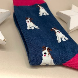 Bamboo Fox Terrier Socks in Navy
