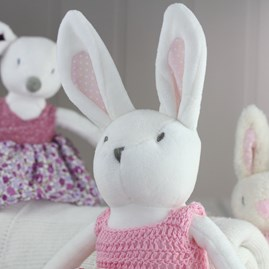White Rabbit Soft Toy With Crochet Dress