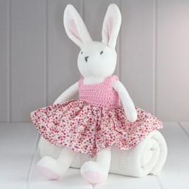 White Rabbit Soft Toy With Crochet Dress