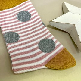Bamboo Sparkle, Spots & Stripes Socks In Dusky Pink