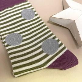 Bamboo Sparkle, Spots & Stripes Socks In Olive
