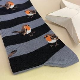 Men's Bamboo Robins & Stripes Socks in Blue