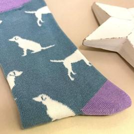 Bamboo Labrador Socks in Blue