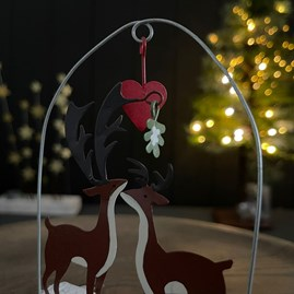 Deers Under Love Heart Christmas Decoration