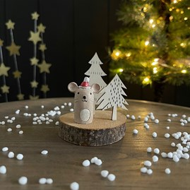 Wooden Mouse, Snowman or Penguin Decoration