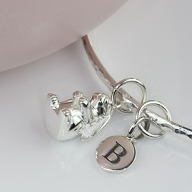 Personalised Hammered Bangle With Silver Bunny Rabbit