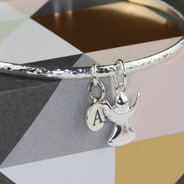 Personalised Guardian Angel Silver Charm Bangle