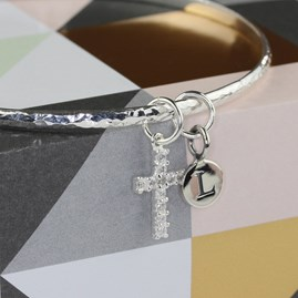 Personalised Semi Precious Stone Cross Bangle