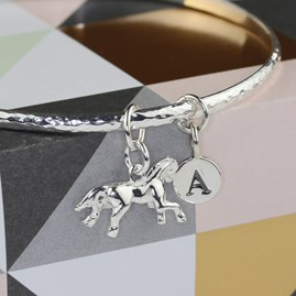 Personalised Hammered Bangle With Silver Horse Charm